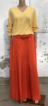 80s Holt Renfrew Orange Maxi Skirt Pleated With Matching Belt Long True ... - $63.73