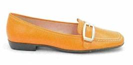 Ann Klein I-Flex Women US 7.5M Orange Leather Moccasin Style Loafer Animal Print - $30.58