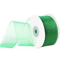 "1.5"" Plain Sheer Organza Nylon Ribbon 25 Yards - Emerald Green - $6.92"
