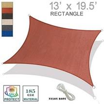 SUNNY GUARD 13' x 19.5' Rectangle Sun Shade Sail UV Block for Outdoor Patio Gard