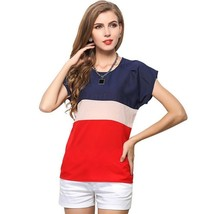 Womens Sexy Patchwork Short Sleeves Chiffon Blouse US XL10 Party/Gift - $5.82