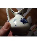 Antique Miniature Delft Blue Pottery Pitcher Creamer Holland Signed - $9.89