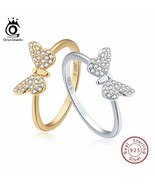 OrsaJewels® Genuine 925 Sterling Silver Women Rings Cute Butterfly Silve... - $8.39