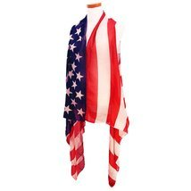 Red, White & Blue American Flag Sleeveless Scarf Vest July 4th - ₨1,402.29 INR