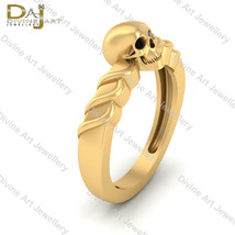 Solid 18k Yellow God Twirl Design Gothic Skull Engagement Ring Halloween... - £1,005.58 GBP