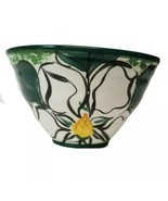 Hand Painted Bowl Floral Green White Signed by Potter 1998 Vintage - $15.70