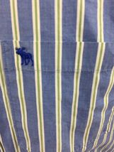 Abercrombie & Fitch Muscle Long Sleeve Button Down Shirt Blue Stripe Men's Large image 3