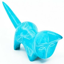 Vaneal Group Hand Carved Kisii Soapstone Light Blue Pouncing Kitten Cat Figurine