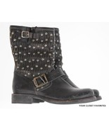 Fyre Jenna Cut Stud Short Boots size 6 Distressed Leather Buckled Moto - $119.97