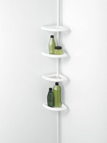 NEW Shower Caddy Tub Tension Metal Pole White 4 Adjustable Shelf Holds Bottles
