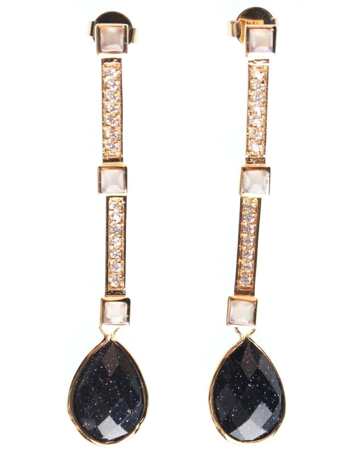 Daniela Swaebe 18K Gold-Plated CZ Crystal & Blue Goldstone Drop Linear Earrings