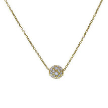 14K Yellow Gold  Rolo Chain Necklace With Movable CZ Pendant - $325.71