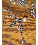 Sterling Silver 3 Charms-Key,Pearl,Fleur de Lis Necklace American Eagle - $18.99