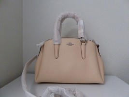 New Coach Mini Sage Crossgrain Leather Light Pink Silver Handbag Crossbo... - $156.42
