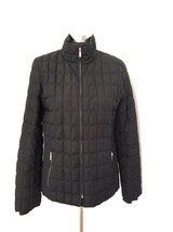 J Crew Womens Quilted Jacket M Medium Black Down Puffer Gold Zipper Pockets - $69.29