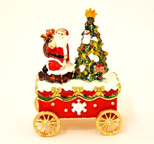 Ciel Collectables Holiday Carriage Trinket Box, Santa Clause Sitting on Snowy Ca