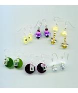 6 pairs bead drop dangle earrings wholesale lot charms sequins handmade ... - $6.75