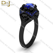Blue Sapphire Gothic Deathly Geeky Vapor Skull Engagement Ring Womens Sk... - £103.13 GBP