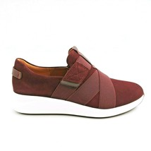 Clarks Womens Un Rio Strap 15764 Suede Slip On Low Top Sneakers Burgundy 7.5M - $54.44