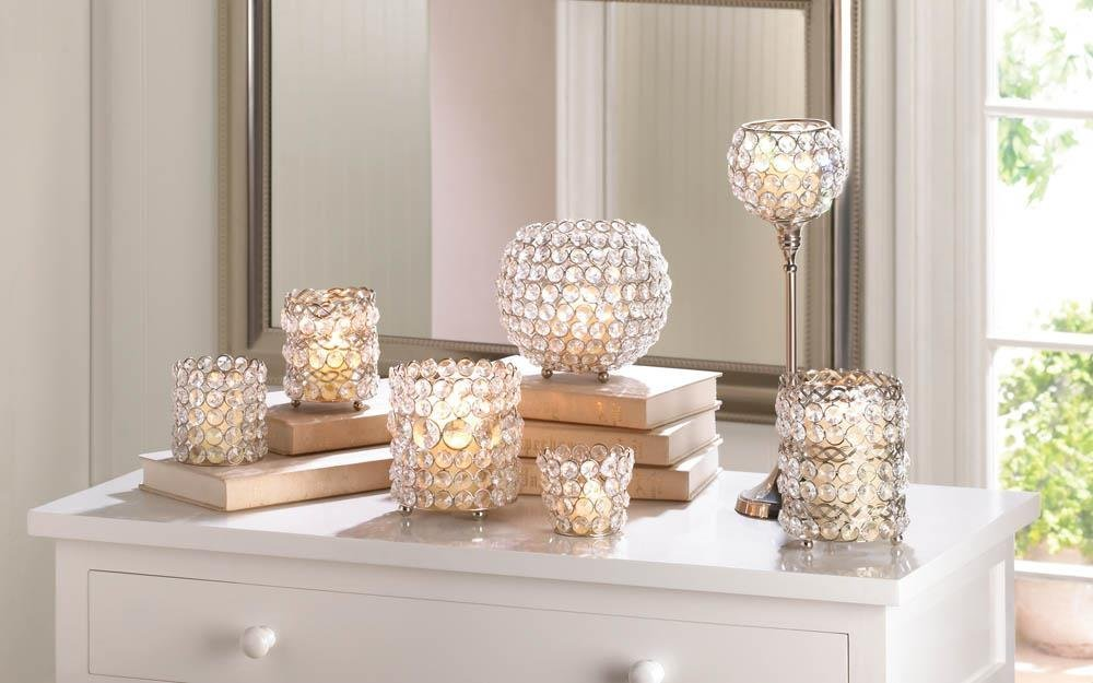 Decorative Glass Candle Holders, Elegant Crystal Modern Round Glass Candle Holde