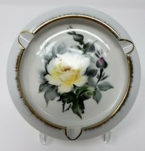 "Lefton China Ashtray Floral Rose White Yellow 5"" Hand Painted Vintage - $12.64"