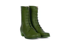 Perfect Jungle Green Back Stay Zipper,Cuban Heel Pure Leather Women Long Boots - $149.99+