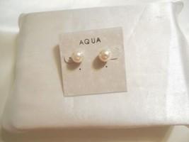 Aqua Silver Tone 9mm Simulated Pearl Stud Earrings A727 - $9.59