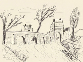 Danyk D'Arsonval - Four 20th Century Pen and Ink Drawings, Landscape Ske... - $59.02