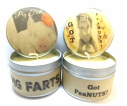 Pig Farts and Got peaNUTS - Set of TWO 4oz All Natural Soy Candle Tins - $13.35