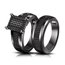 Black Diamond Womens Wedding Bridal Ring Set 14k Black Over 925 Sterling... - $95.99