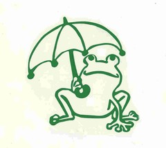 frog and umbrella green decal ideal cars, trucks, home etc easy to apply