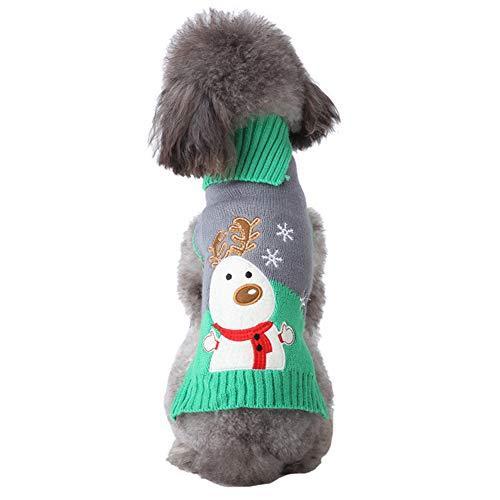 NACOCO Dog Elk Sweater Pet Snow Design Costume Green Gray Turtleneck for Winter