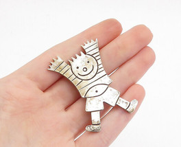 MEXICO 925 Sterling Silver - Vintage Happy Jumping Child Brooch Pin - BP... - $51.57