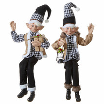 "Raz Imports 30"" Black and White Plaid Elf set of 2 - $148.50"