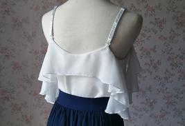 Cold Shoulder White Chiffon Top Wedding Bridesmaids Chiffon Top Plus Size image 2