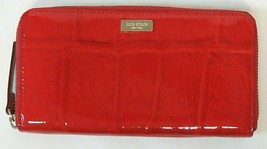 Kate Spade Neda Knightsbridge Red Patent Leather Zip Around Wallet WLRU1... - $26.73