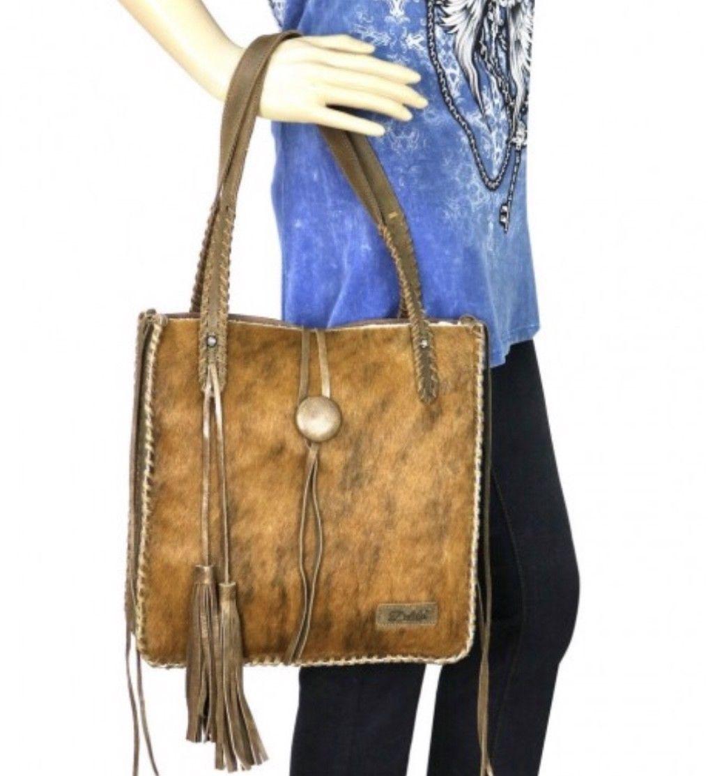 Montana West Delila Hair-On hide 100% Genuine Leather Tote Shoulder Bag LEA-6026
