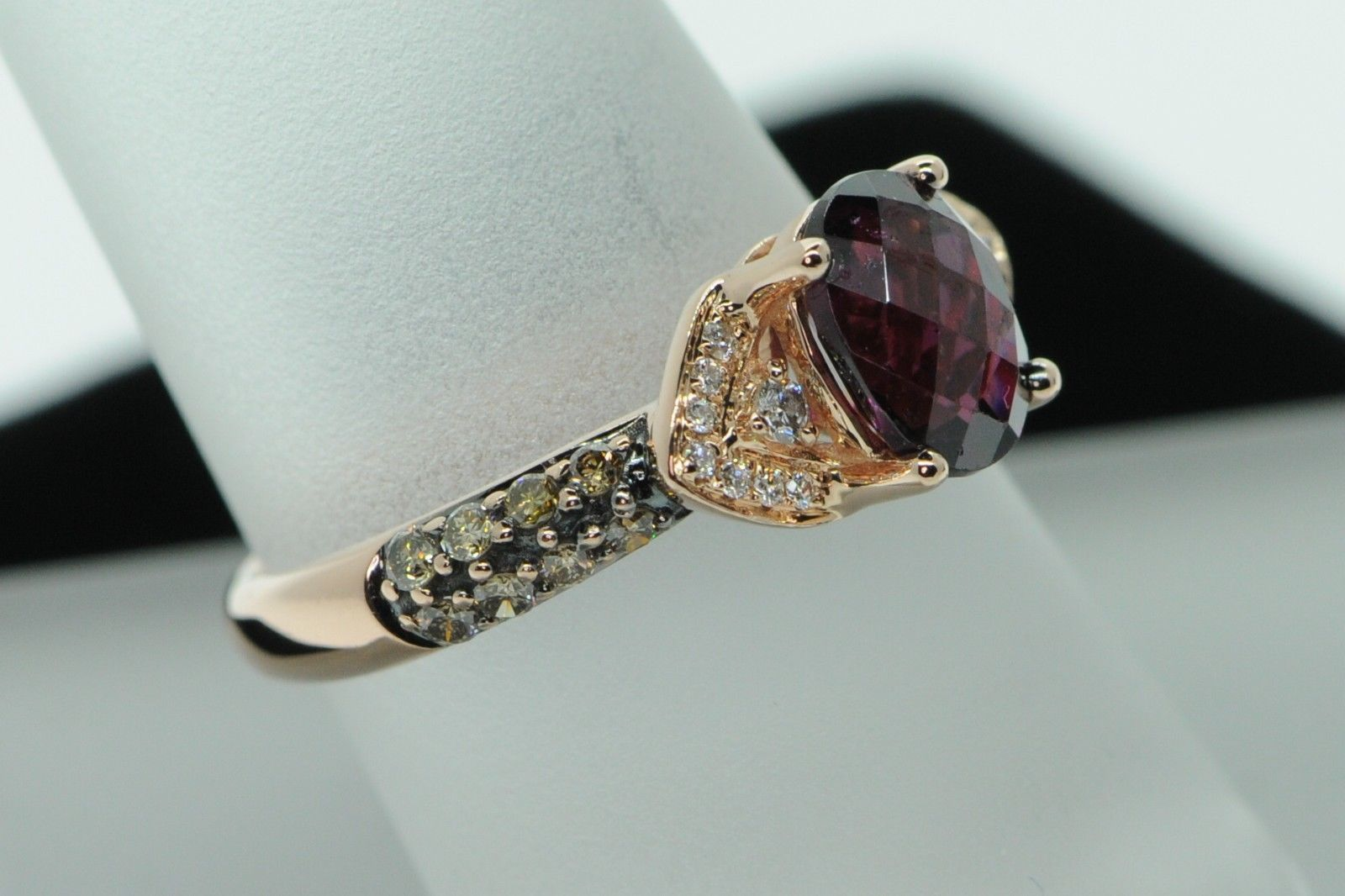 LEVIAN 14K Rose Gold Raspberry Rhodolite Garnet Ring with Chocolate Diamonds