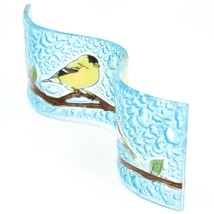Fused Art Glass Goldfinch Yellow Finch Wavy Decor Sun Catcher Handmade Ecuador image 2