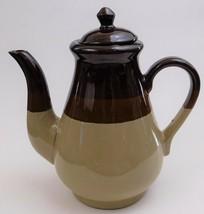 Stoneware Coffee Teapot Tricolor Striped 3 Tone Glazed Beige Brown - $37.62