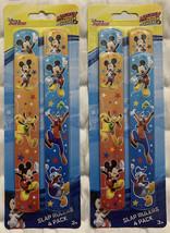 2 Disney Mickey Mouse Birthday Party Slap Ruler Bracelets Favors Walt 4 Pack New - $17.32