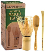 BambooWorx Japanese Tea Set, Matcha Whisk Chasen, Traditional Scoop Chas... - $16.39