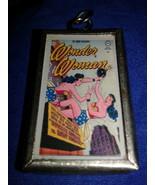 Wonder Woman DC Comics Pendant Antique Vintage Glass & Silver Tone Metal - $16.00