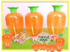 Clear Orange Carrot Shaped Easter Eggs 3 Fillable Treat Containers - $6.28