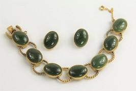 Vintage Jewelry Swoboda Signed Jade Cabochon Clip Earrings & Bracelet Set - $185.00