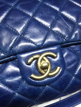 AUTHENTIC CHANEL BLUE QUILTED GLAZED CALFSKIN 2 WAY HANDLE FLAP BAG GHW image 3