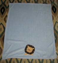 """Lambs & and Ivy Baby Boy Blue Ribbed Plush Fleece Lion Blanket 41"""" x 36"""" - $49.49"""