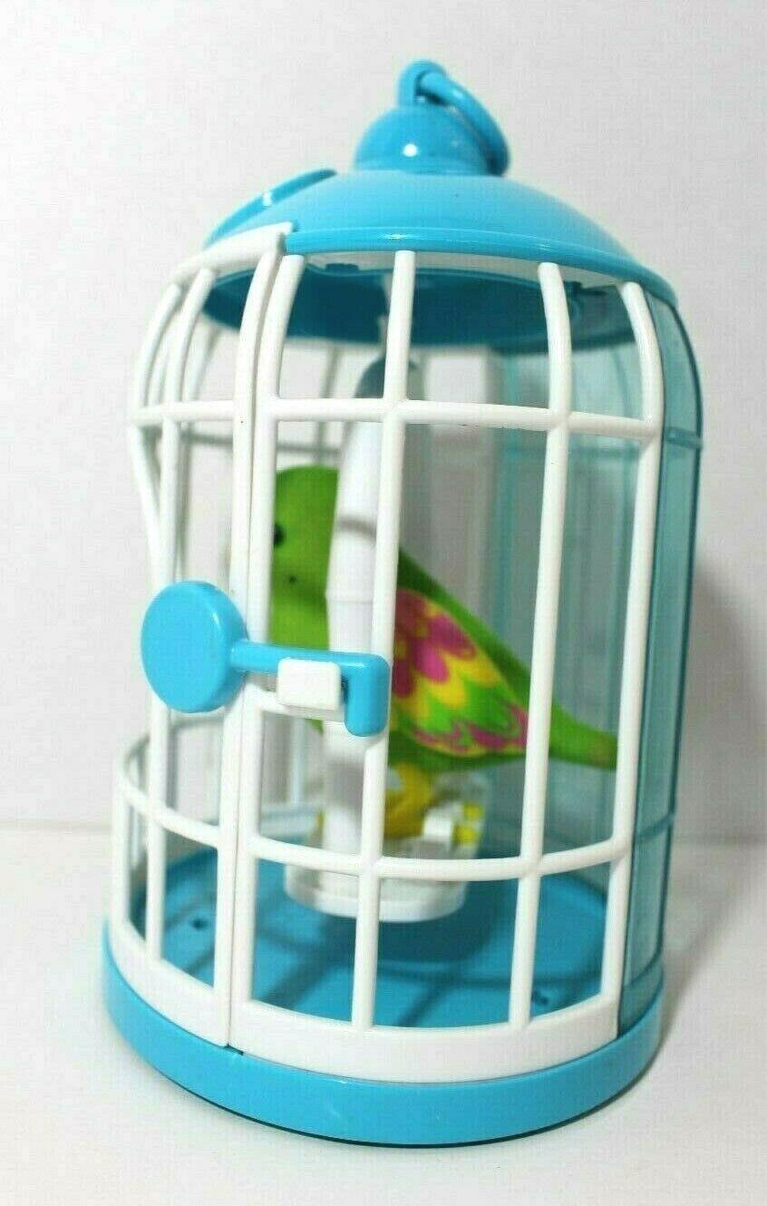 Little Live Pets Talking Bird Green Pink Parakeet w/ Blue & White Cage Singing