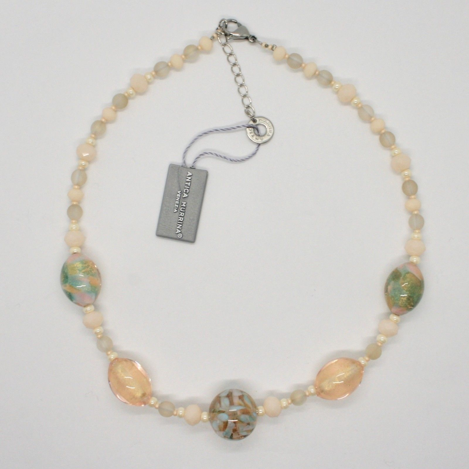 NECKLACE ANTICA MURRINA VENEZIA WITH MURANO GLASS BEIGE CREAM YELLOW COA78A03