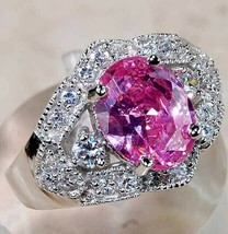 SALE 4CT Pink Sapphire & Topaz 925 Solid Sterling Silver Ring Jewelry Sz... - $32.66